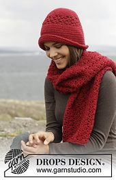 Free pattern on Ravelry: 158-15 Amore Hat and scarf by DROPS design