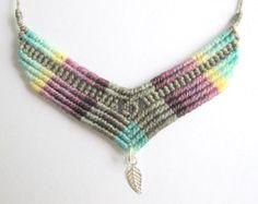 collar micro macrame / bohemio / orquidea / collar con plata de ley y macrame