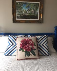 he combination of blue's and pink's on this customers bed are a fabulous bold look! Get your own Boxed Dahlia Elizabeth Bradley Home needlepoint pillow today! • • • #homedecor #luxuryhome #needlepointpillows #dahlia