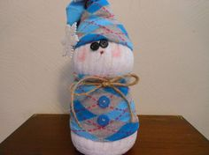 Sock Snowman Dressed in Aqua Argyle Hat and Top with by KatesCache, $11.00