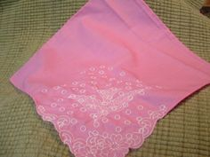 Pink White Embroidered Handkerchief by cajunstitchery on Etsy, $10.00