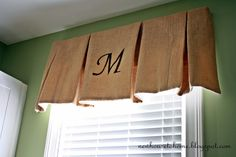 """New House to Home: Stenciled Burlap Window Treatment (be sure to check out how she """"irons"""" the pleats... Would NOT have thought of that!)"""