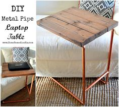 Metal Pipe Laptop Table {Home Depot Gift Challenge} - 12 bloggers making a monthly gift from items found at the Home Depot