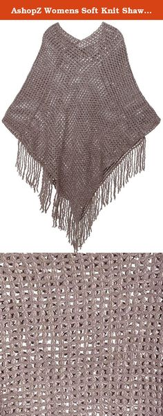 """AshopZ Womens Soft Knit Shawl Wrap Tassel Edge Sweater with Sequins,Khaki. High quality fabric Knitted poncho cape with tassels Fashionable batwing shawl wrap design Incredibly comfortable and warm for the cold Material: Acrylic Size: Shoulder: 11.42"""", Length: 17.72"""", Side Length: 30.7"""" Pattern: Sequin Colors: Khaki, Charcoal, Beige, Black, Red."""