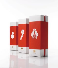 Very clean red and white package design with Japanese icons.