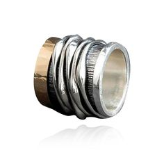 Ring |  Silver 925 and gold 18K   #ring #silver #gold #jewels #madeingreece Bronze Jewelry, January, Rings For Men, Silver Rings, Jewelry Making, White Gold, Wedding Rings, Pendants, Rose Gold