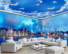 3D Modern City Cloud Sky Wall Murals Wallpaper Decals Art Print IDCQW-000316