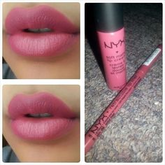 NYX Soft Matte Lip Cream (an amazing product) in San Paulo, with NYX Retractable Lip Pencil in Natural Pink