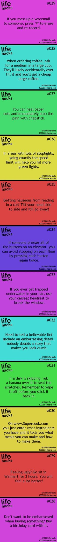 Hacks everyone should know!! The last one should not be used when buying something such as feminine hygiene products or condoms.