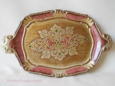 Small vintage Florentine tray gilded embossed by ShabbyGoesLucky, €23.00