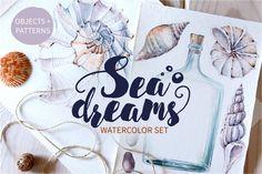 SEA DREAMS watercolor set by Lemaris on @creativemarket