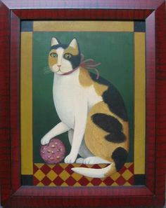 Like Cats and Dogs: Calico Cat with Calico Ball   American Folk ...