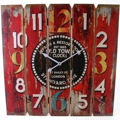 Extra Large London Old Town Design Plank Wall Clock Shabby Chic Distressed Style Retro 58cm