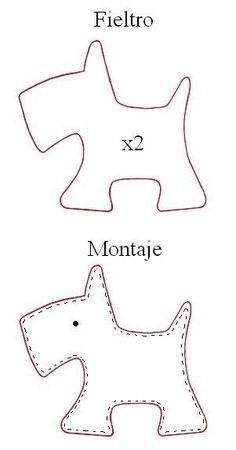 Scotty dog template- fun with felt project inspiration idea❤︎ little felt scottie dog template - cachorrobag tag Mire bordados: Perrito Use with Harry the Dirty Dog!Scotty Dog: tutor for Petit Chien.Zips and Things Felt Patterns, Applique Patterns, Sewing Patterns, Craft Patterns, Sewing Crafts, Sewing Projects, Felt Dogs, Felt Christmas Ornaments, Dog Pattern