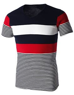 FLATSEVEN Mens 3 Color Wide Striped Short Sleeve Crew Neck Casual T-Shirt (T120) Red, M FLATSEVEN http://www.amazon.com/dp/B00KXU9RL0/ref=cm_sw_r_pi_dp_1ZW2ub051WCMB #FLATSEVEN #Men #Striped #Casual #T-Shirt #Fashion
