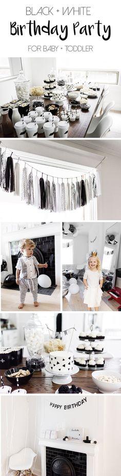Kids birthday party, black + white / monochrome, first birthday | Happy Grey Lucky