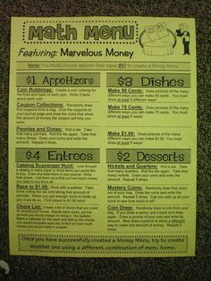 Math Menus....great for differentiation!  Would work well for Lit stations too!