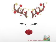 Appliqués thermocollants bois de renne nez rouge Rudolf applique Noël patch à repasser motif thermocollant paillette Christmas gift