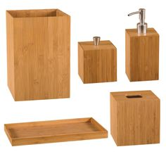 Brand New Bamboo Bath Vanity Set Bathroom Accessories Soap Lotion Dispenser NICE