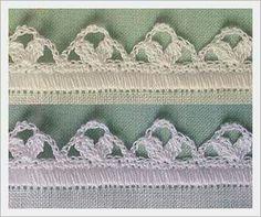 Bico de crochê Crochet Borders, Crochet Lace, Crochet Patterns, Crochet Edgings, Knitting Projects, Crochet Projects, All Art, Lace Shorts, Daisy
