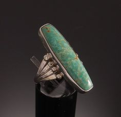 Long Turquoise Silver Ring Navajo Handmade