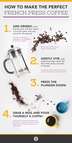 Could Coffee Taste Any Better? Yes, and Here's How French Press Coffee. This looks fun to try out. I only need to find a coffee press. I Love Coffee, My Coffee, Coffee Drinks, Coffee Cups, Coffee Time, Bunn Coffee, Coffee Truck, How To Make Coffee, Espresso Coffee