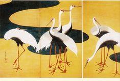 Suzuki Kiitsu  鈴木其一 (1796-1858 ), 群鶴圖屏風