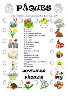 Pâques worksheet - Free ESL printable worksheets made by teachers French Teaching Resources, Teaching French, Teaching Tools, French Language Lessons, French Lessons, French Alphabet, Das Abc, French Worksheets, French Kids