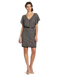 Anne Klein Women's V-neck Dress, Black/sugar, Petite