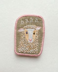 """Brooch  -  """"British Sheep"""", hand embroidery  textile jewelry on Etsy, $30.00"""
