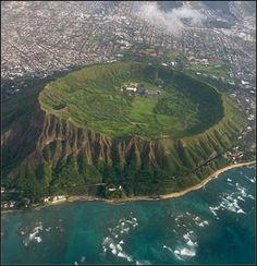 Diamond Head, Honolulu, Hawaii. A birds eye view of the Crater with Honolulu in the background.