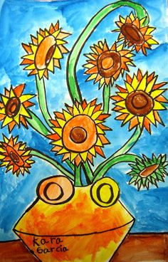 """""""After learning about Vincent and his sunflowers, we did a step by step drawing of the sunflowers in pencil.  Students then traced over pencil with sharpies and added their name in the vase.  Second day we began painting just the flowers and stems.  Third day, we painted the vase, table and background.  I love how they all turn out so different! These made wonderful Mother's Day gifts as well!""""- Kristin Thomas"""