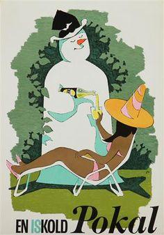 Lauritz.com - Grafik - Arne Ungermann. Plakat, 'En iskold Pokal', litografi, ca. 1965 (cd) - DK, Vejle, Dandyvej
