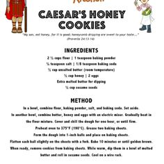 Free Christian Bible activities: worksheets, quizzes, puzzles, and lessons for parents and teachers. Teach your children more about the Bible. Gideon Bible, Bible Food, Ss Lesson, Lds Primary Lessons, Honey Cookies, New Things To Try, Jewish Food, Bible Activities, Jewish Recipes