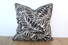 Black outdoor pillow cover palm leaf print, tropical cushion black and white, swaying palm pillow case Palm Beach Decor Black And White Leaves, White Leaf, Wooden Cat Tree, Palm Beach Decor, Outdoor Pillow Covers, Minimalist Painting, Black Pillows, Printed Cushions, Outdoor Fabric