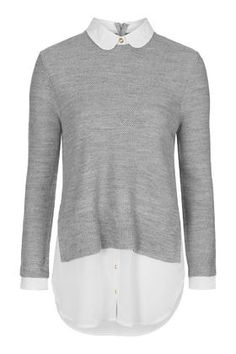 I like the long shirt under the sweater look. Great for hiding the lower half....Round Collar Hybrid Jumper