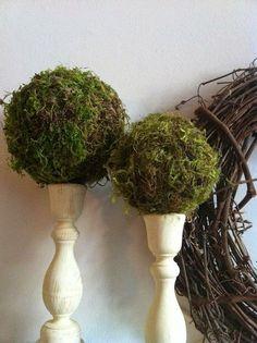 Moss Ball Candlestick Topiary by TulsiTalanLoft on Etsy, $10.00