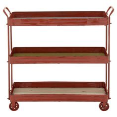 Brimming with rustic-chic style, this metal storage cart features a castered design and warmly weathered details. Product: Sto...