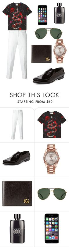 """""""Men style 😻"""" by fashiondam ❤ liked on Polyvore featuring Neil Barrett, Gucci, Harrys of London, Rolex, Off-White, men's fashion and menswear"""