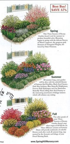 GARDEN: garden plan a week, week three seasons of beauty - The . - GARDEN: garden plan one week, week three seasons of beauty – The Urban Domestic Diva: GARDENING - Plantas Indoor, Flower Garden Plans, Flower Garden Layouts, English Flower Garden, Perennial Garden Plans, English Garden Design, Garden Design Plans, Flower Garden Design, Spring Hill Nursery