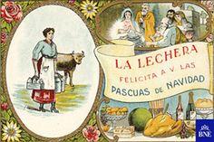 Felicitación de Navidad de la lechera. 1930-1940. Cromolitografía. Eph/529(4)