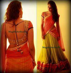 Orange n green half saree with designer blouse