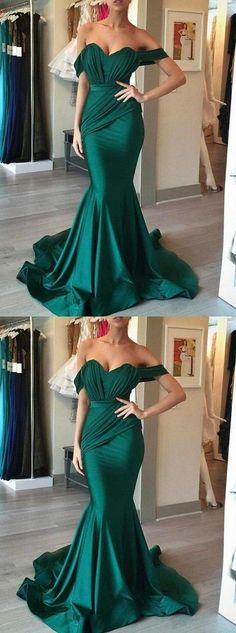 elegant off shoulder prom party dresses, green mermaid evening gowns, chic formal party dresses with train,386