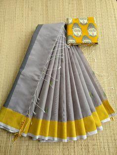 Cotton Saree Blouse, Kalamkari Saree, Orange Saree, Red Saree, Saree Blouse Designs, Blouse Patterns, Traditional Sarees, Traditional Outfits, Jute Sarees