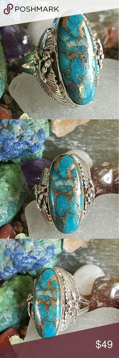 Copper blue Turquoise Ring Sterling Silver Earth Art hand crafted artisan ring in solid sterling silver hallmarked 925 setting.  Genuine Arizona copper blue turquoise! Gorgeous and interesting stone. Feathers and flowers on side. ALWAYS WEAR ART.  NEW. Earth Art hand crafted artisan  Jewelry Rings