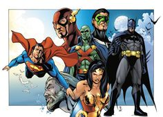 Justice League pencil drawing colored in Photoshop Pencils and colors: Sean Forney all characters copyright DC Comics