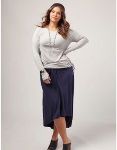 Side-Cinched Jersey Tee by OTIS | Lane Bryant