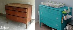 refinish dresser into changing table | Super cute idea, turn an old dresser into a changing ... | Home Decor