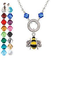 Enamel Bee - Custom Engraved Eternity Circle Crystal Necklace - Wedding nacklaces (*Amazon Partner-Link)