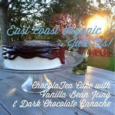 East Coast Organic/ Just Us! ChocolaTea Cake with Vanilla Bean Icing and Dark Chocolate Ganache from Baked in Nova Scotia Brown Bags, Chocolate Ganache, Nova Scotia, East Coast, Icing, Vanilla, Organic, Dark, Desserts